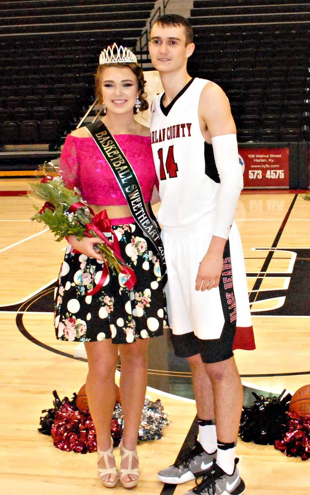 Harlan County High School senior Haley Blakley was crowned the HCHS Basketball Sweetheart in ceremonies before Monday's game against Barbourville. Blakley was escorted by senior guard Treyce Spurlock.