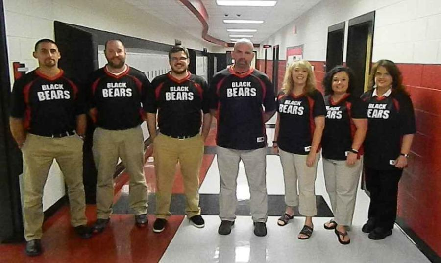 Teachers with school spirit- front