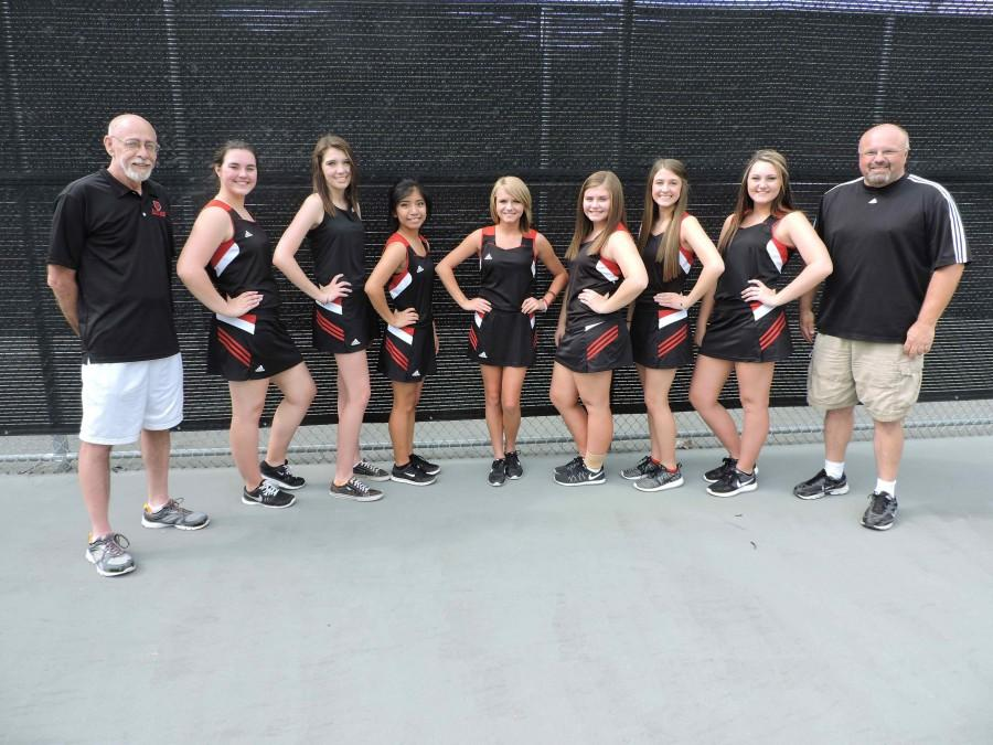 The Harlan County HIgh School girls tennis team includes, from left, assistant coach Michael Flynn, Allison Cook, Makayla Whitaker, Brianna Roque, Madison Bailey, Grayson Raleigh, Hannah Gaw, Emily Eldridge and coach Wes Bailey; not pictured: Dacey Bailey and Brittany Goins.