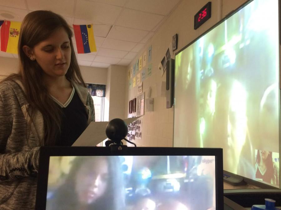 Harlan+County+High+School+sophomore+Sophia+Sergent+talked+a+resident+of+Venezuela+during+a+Skype+session+held+at+the+school.