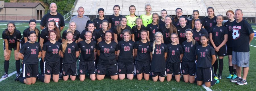 Team members include, from left, front row: Hannah Pittman, Emily Fultz, Elina Turner, Melody Gross,  Angle Davenport, Bethany Combs, Hailey Conway, Jade Abbott, Angel Thomas, Kali Nolan and Iris Sanchez; middle row: Chelsey Caldwell, Taylor Rowe, Samantha Lee, Danielle Lee, Courtney Caldwell, Hannah Sturgill, Kelsey Peggs, Camerynn Owens, Abigail Stephens, Hannah Gaw, Shalora Neely, Emily Day, Bryanna Ramsey and coach David Day; back row: assistant coaches Troy Gaw and Jeff Day, Amber Allen, Makayla Whitaker, Haley Blakely, Elizabeth Ball, Cali Asher, Kylie Royce, Chelsey Cornett, Madison Blanton and Hope Coots; not pictured: Hayley Key and manager Abigail Gaw.