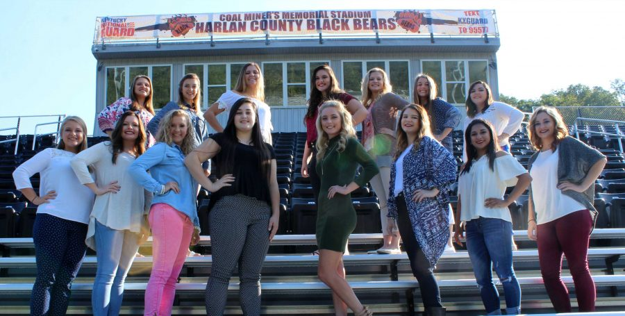 The Harlan County High School homecoming queen will be crowned in ceremonies before Friday's game against Johnson Central. Senior candidates include, from left, front row: Stacey Huff, Courtney Justen, Tabitha Kilgore, Natalie Middleton, Kali Nolan, Linda Partin, Iris Sanchez and Michaela Short; back row: Haley Boggs, Emma Day, Kaitlin Evans, Leah Evans, Breanna Faulkner, Hannah Gaw and Haley Hall; not pictured Megan Thompson.