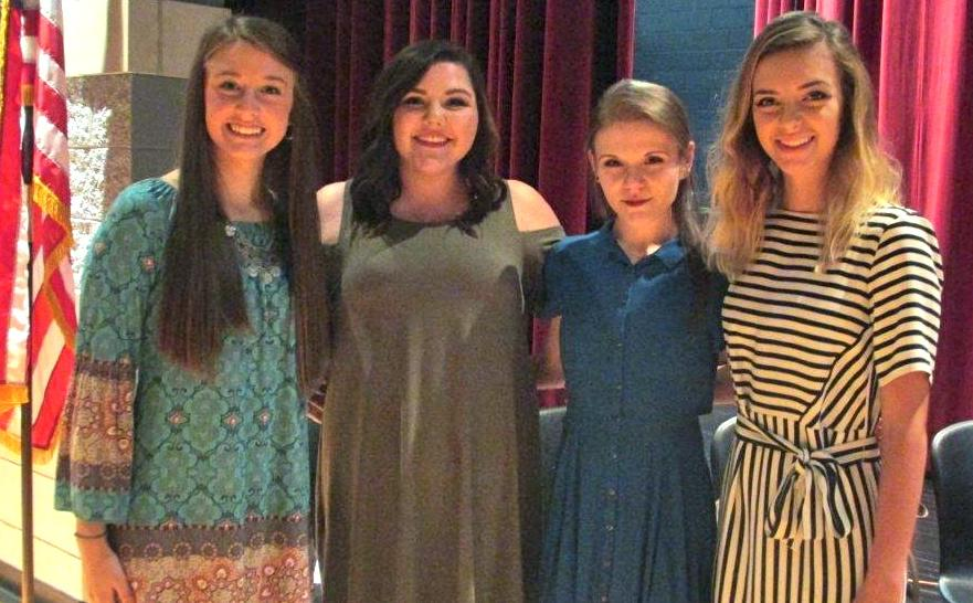 Pictured are the newly elected National Honor Society officers for the 2016/17 school year at Harlan County High School, including, from left: treasurer Hannah Gaw, secretary Haley Hall, vice president Madyson Bennett and president Emma Day.