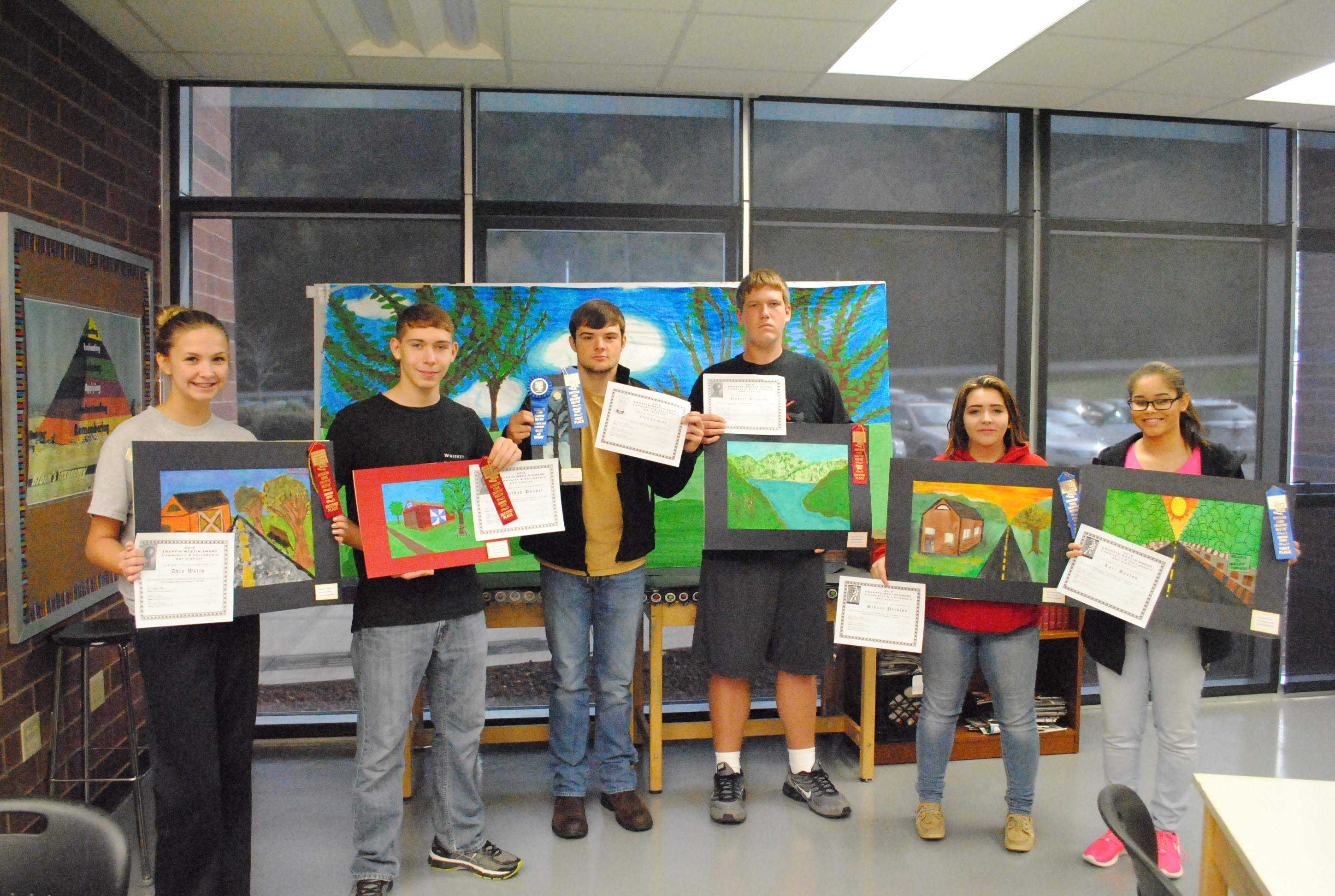 Winners from Harlan County High School during the 52nd annual Kingdom Come Swappin' Meetin' art competition included, from left: Addia Watts, John Hansel, Caleb Carmical, Robbie Blevins, Cydney Perkins and Lori Barton.