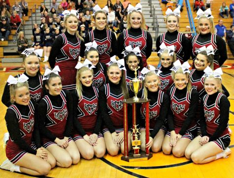 The Harlan County High School cheerleaders won the girls division at the WYMT Mountain Classic on Saturday at Perry Central. Squad members include, front left, front row: Ally Alred, Karyssa Lamb, Breanna Faulkner, Haley Boggs, Tabitha Kilgore, Rhileigh Alred and Baili Boggs; middle row: Whitney Hensley, Shawnee Cress, Keke Gist, Makayla Walters and Kerstin Perkins; back row: Madison Tolliver, Amber Goodin, Peyton Griffin, Katiera Lewis and Stacey Huff.