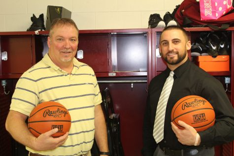 Bill Scott (left) was the coach and Eddie Creech was the star senior point guard when Cumberland won the 13th Region Tournament title in 2003. Both are now teachers at Harlan County High School and reflected on their memories of 14 years ago after HCHS won the school's first regional title and the first for the county since Cumberland's championship.