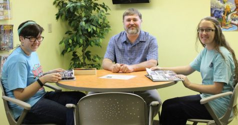 Summer Reading 2017 will open Thursday at the Harlan Public Library. Cheyenne Coogle (left) and Casey Ledford talked with Harlan Public Library director Richard Haynes about plans for this year's program.