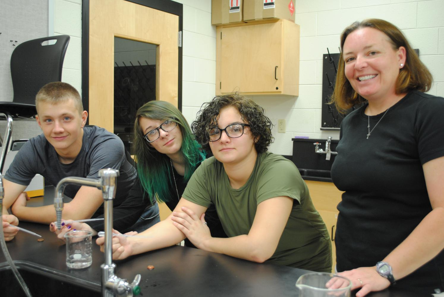 Shaun Warren, Lindsey Fields and Malia Williams were among the participants in a science project led by Harlan County High School teacher Jennifer Hilton.