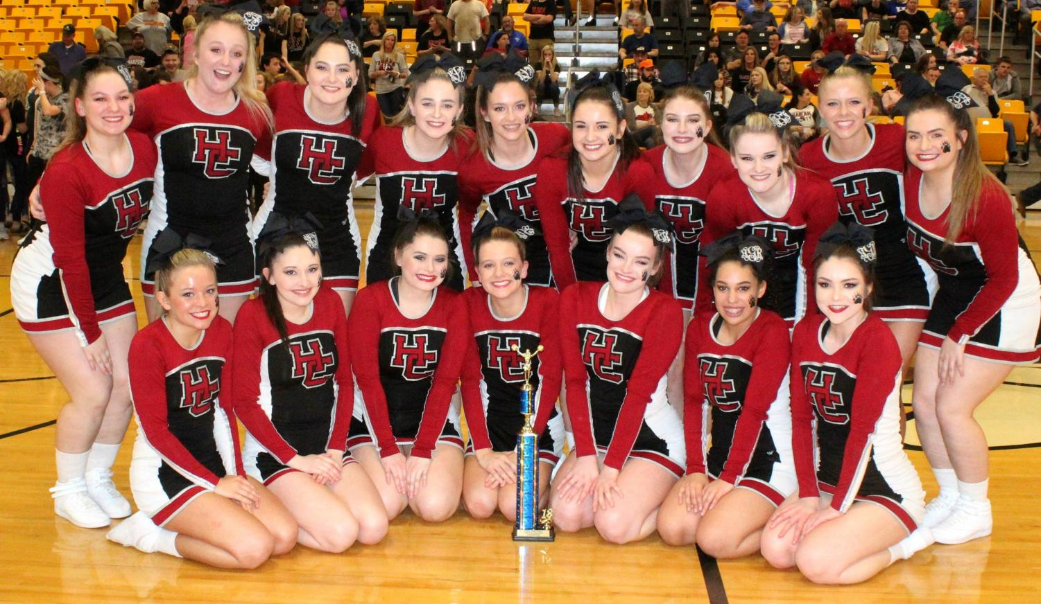 The Harlan County High School cheerleaders captured their third straight 52nd District Tournament cheerleading title on Friday at Middlesboro High School. Squad members include, from left, front row: Ally Alred, Shawnee Cress, Grayson Raleigh, Rhileigh Alred, McKenzie Bundy, Keke Gist and Amber Goodin; back row: Brittany Dummitt, Peyton Griffin, Emily Eldridge, Katiera Lewis, Karyssa Lamb, Bailey Brock, Madison Tolliver, Mahalah Bundy, Baili Boggs and Kerstin Perkins. The squad is coached by Anissa Alred.