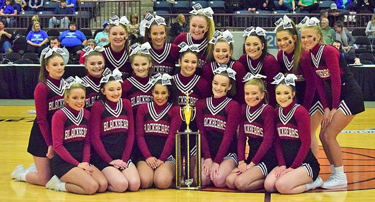The Harlan County High School cheerleaders won the girls regional cheer competition on Saturday at The Corbin Arena. The squad also placed second to Corbin in the boys team competition. Squad members include, from left, front row: Ally Alred, Shawnee Cress, Keke Gist, Mckenzie Bundy, Rhileigh Alred and Amber Goodin; back row: Madison Tolliver, Grayson Raleigh, Brittany Dummitt, Mahalah Bundy, Karyssa Lamb, Bailey Brock, Peyton Griffin, Katiera Lewis, Emily Eldridge, Kerstin Perkins and Baili Boggs. Anissa Alred is the HCHS coach.