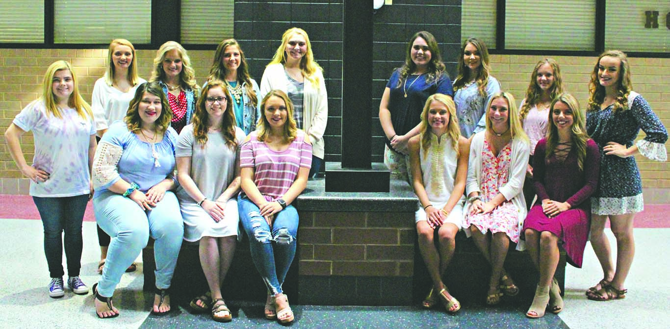 Senior candidates for the Harlan County High School homecoming ceremony set for Sept. 14 include, from left, back row: Selena Smith, Emily Collett, Whitney Hensley, Rhileigh Alred, Phebe McHargue and Katelyn Johnson; back row: Jade Adams, Cameryn Owens, Mahalah Bundy, Nikki Creech, Elizabeth Ball, Breanna Turner, Amber Goodin, Abigail Middleton and McKenzie Bundy; not pictured: Madison Blanton and Abbie Mefford.